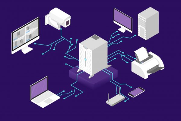 Network management concept. Computer server and cloud database. Wirelees communication between device. Vector isometric illustration